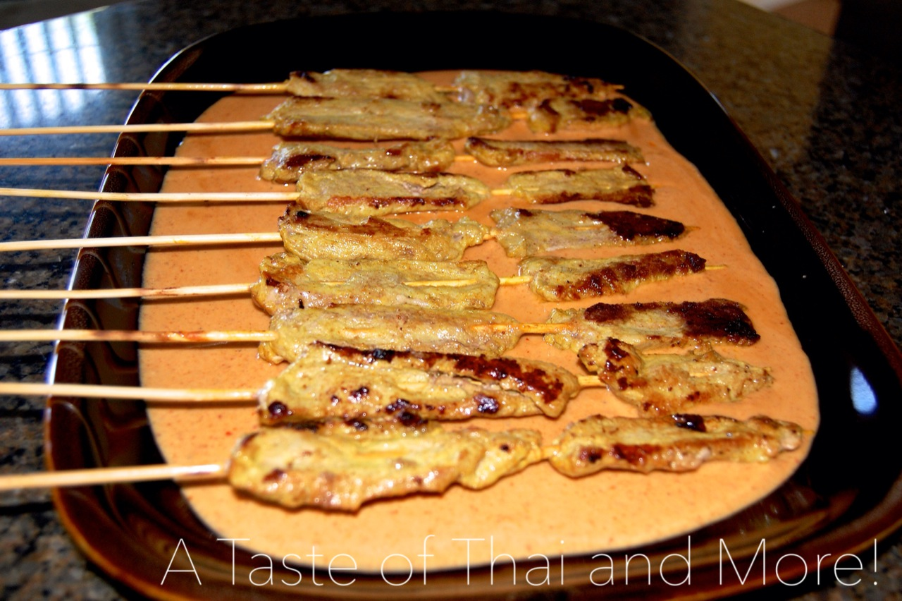 Grilled Spiced Pork Skewers with Curry Sauce | A Taste of Thai and ...
